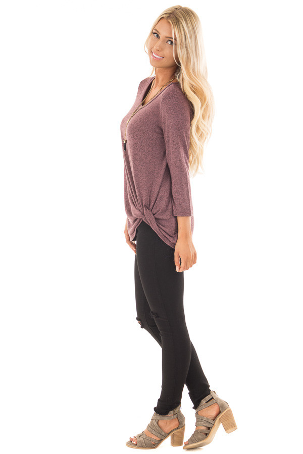 Mauve 3/4 Sleeve Top with Knotted Hem Detail side full body