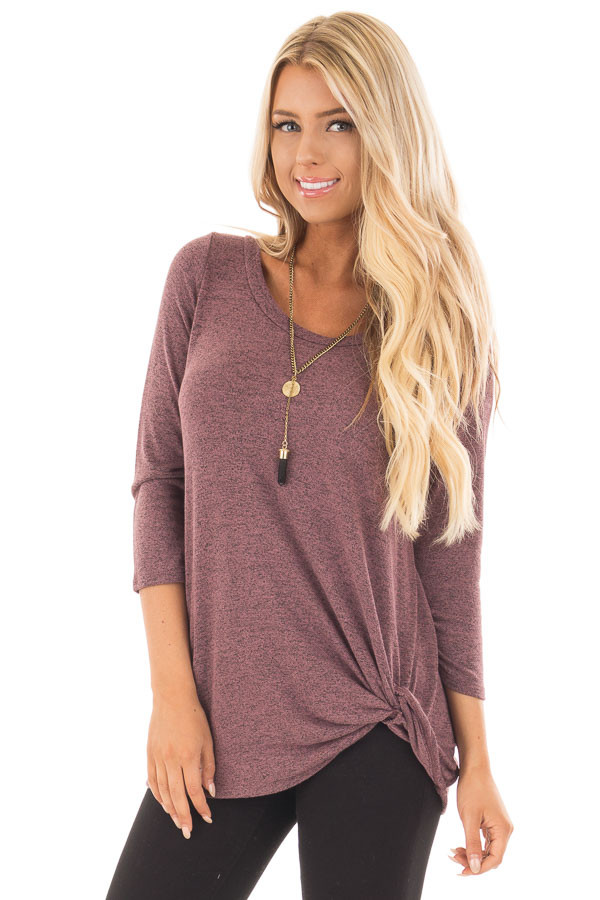Mauve 3/4 Sleeve Top with Knotted Hem Detail front close up