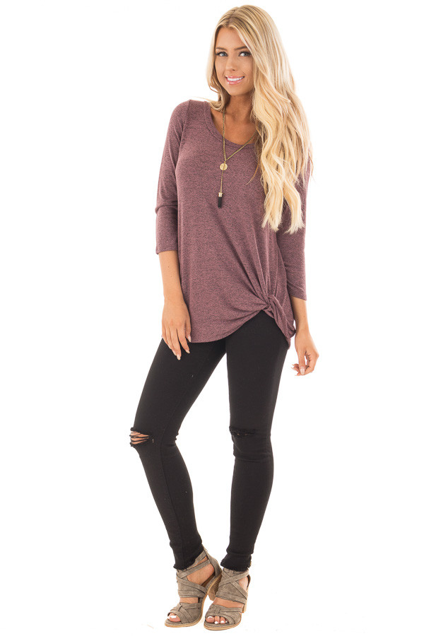 Mauve 3/4 Sleeve Top with Knotted Hem Detail front full body