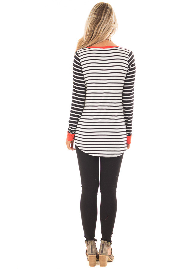 Ivory and Black Striped Long Sleeve Top with Orange Contrast back full body