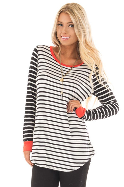 Ivory and Black Striped Long Sleeve Top with Orange Contrast front close up