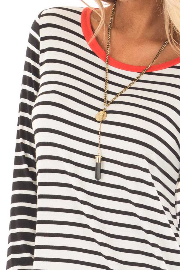 Ivory and Black Striped Long Sleeve Top with Orange Contrast detail