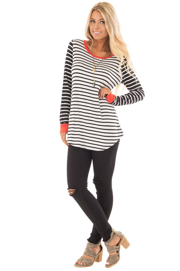 Ivory and Black Striped Long Sleeve Top with Orange Contrast front full body