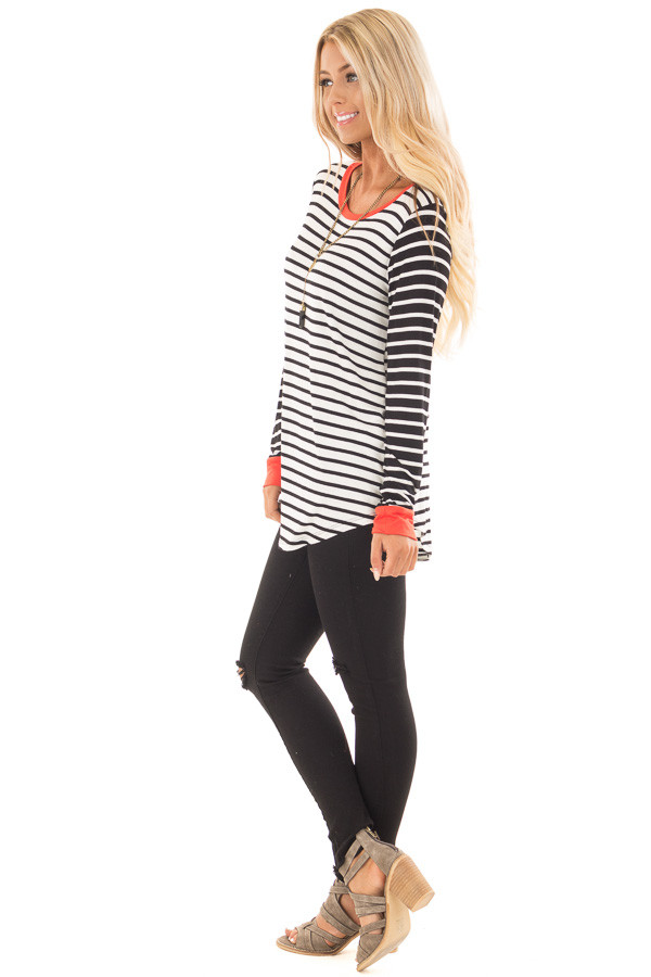 Ivory and Black Striped Long Sleeve Top with Orange Contrast side full body