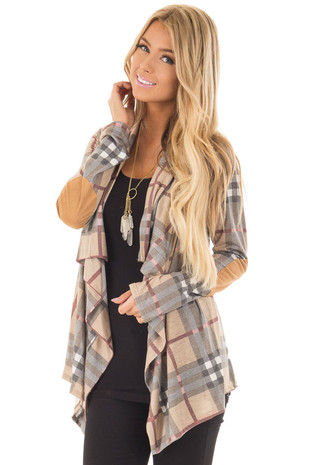 Mocha Plaid Open Cardigan with Suede Elbow Patches front closeup