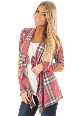 Wine Plaid Open Cardigan with Suede Elbow Patches front closeup