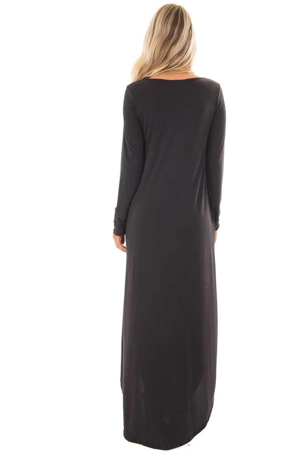 Black Maxi Dress with Y Strap Neckline and Rounded Hem back full body