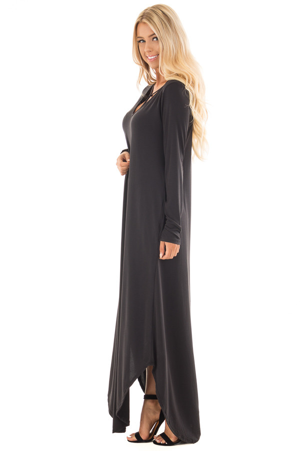 Black Maxi Dress with Y Strap Neckline and Rounded Hem side full body