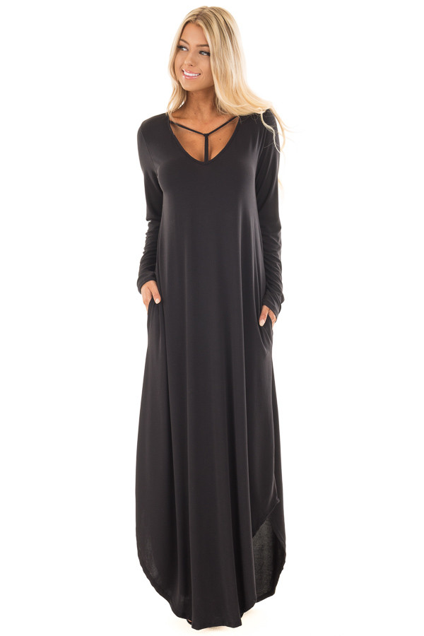 Black Maxi Dress with Y Strap Neckline and Rounded Hem front full body