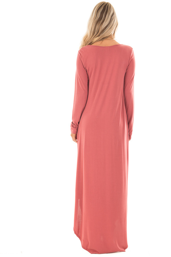 Marsala Maxi Dress with Y Strap Neckline and Rounded Hem back full body