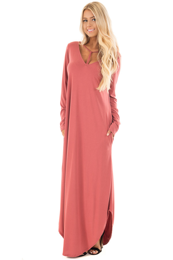 Marsala Maxi Dress with Y Strap Neckline and Rounded Hem front full body