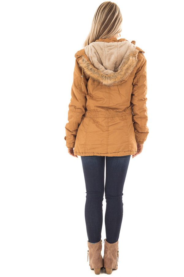 Camel Cargo Jacket with Faux Fur Lining and Hood back full body