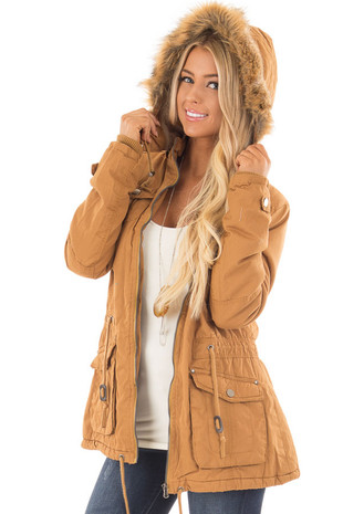 Camel Cargo Jacket with Faux Fur Lining and Hood front close up