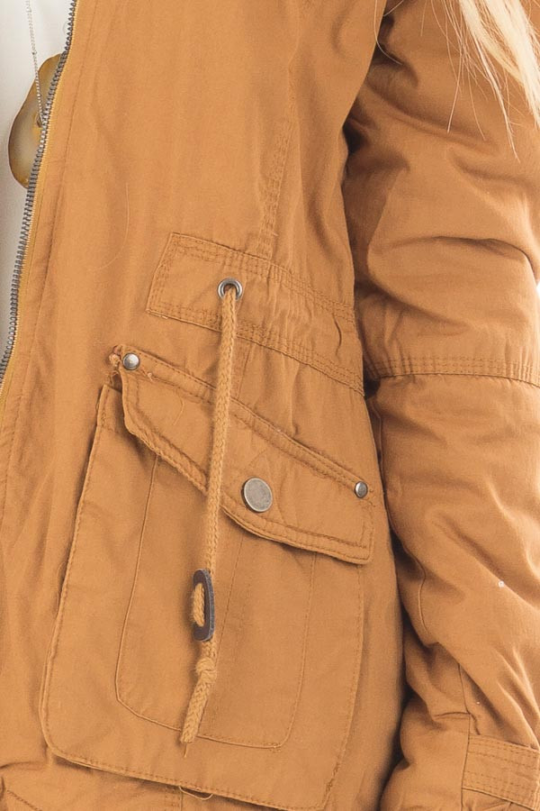Camel Cargo Jacket with Faux Fur Lining and Hood detail
