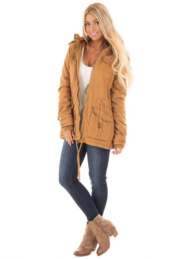 Camel Cargo Jacket with Faux Fur Lining and Hood front full body