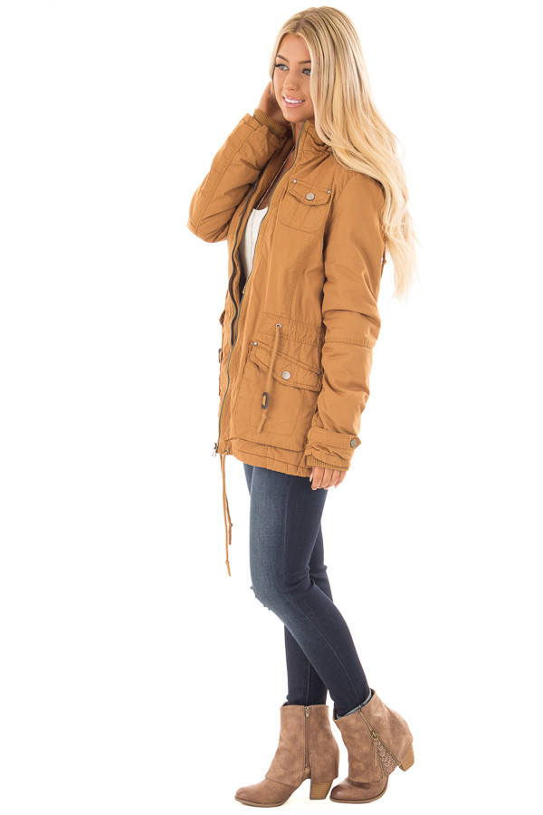 Camel Cargo Jacket with Faux Fur Lining and Hood side full body