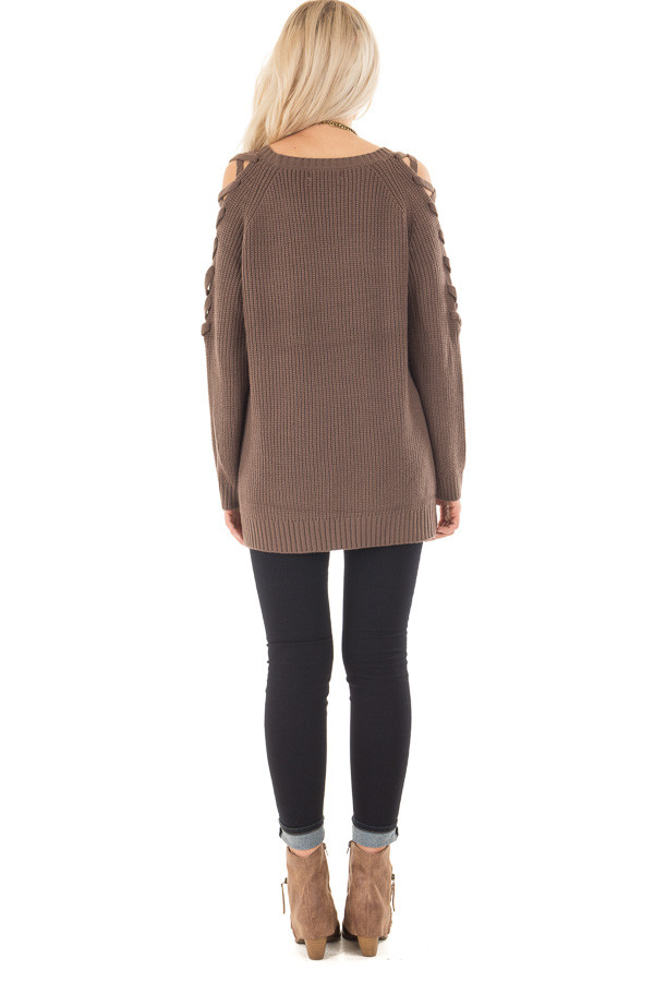 Cocoa Long Sleeve Sweater with Sheer Lace Up Details back full body
