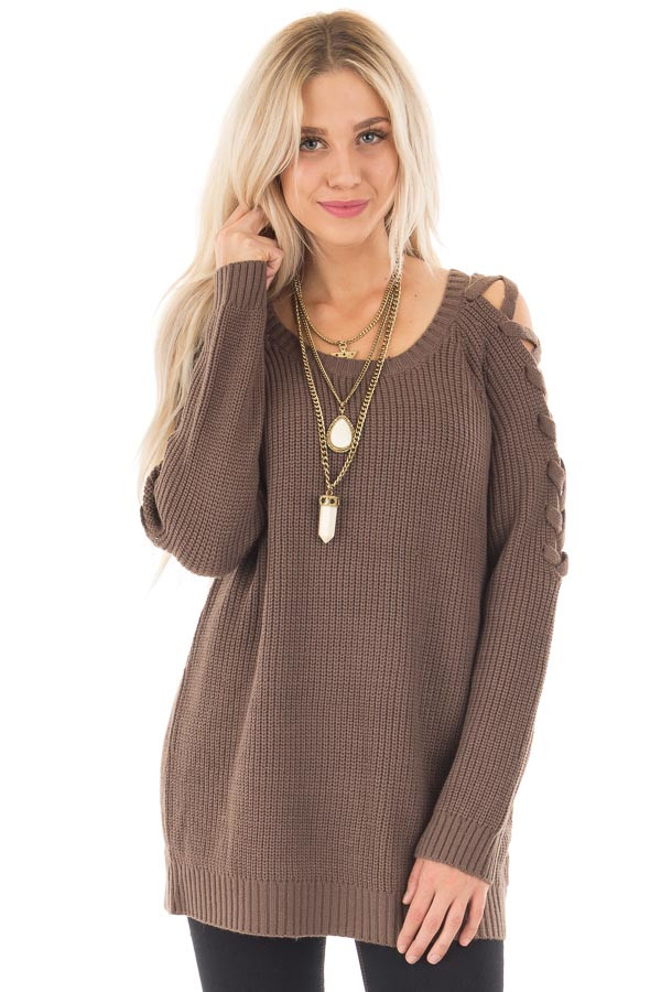 Cocoa Long Sleeve Sweater with Sheer Lace Up Details front close up