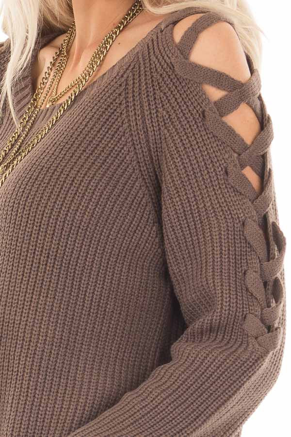Cocoa Long Sleeve Sweater with Sheer Lace Up Details detail