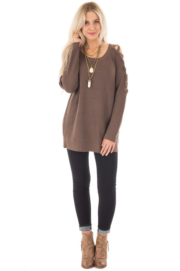 Cocoa Long Sleeve Sweater with Sheer Lace Up Details front full body