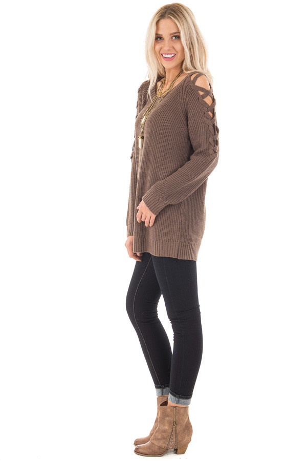 Cocoa Long Sleeve Sweater with Sheer Lace Up Details side full body