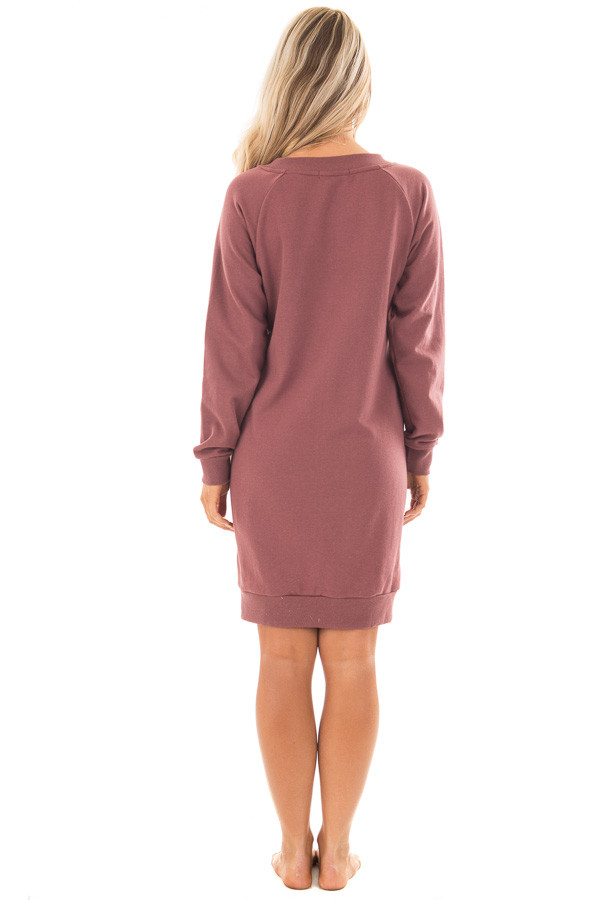 Burgundy Sweater Dress with Ivory Lace Up Neckline back full body