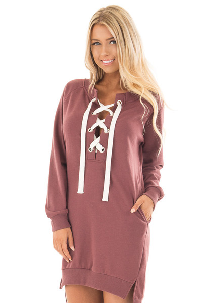Burgundy Sweater Dress with Ivory Lace Up Neckline front close up