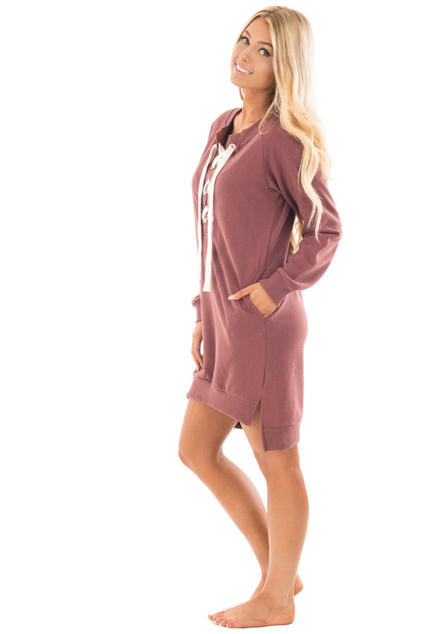 Burgundy Sweater Dress with Ivory Lace Up Neckline side full body