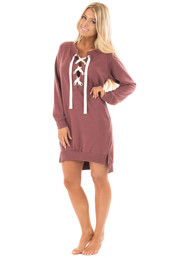 Burgundy Sweater Dress with Ivory Lace Up Neckline front full body