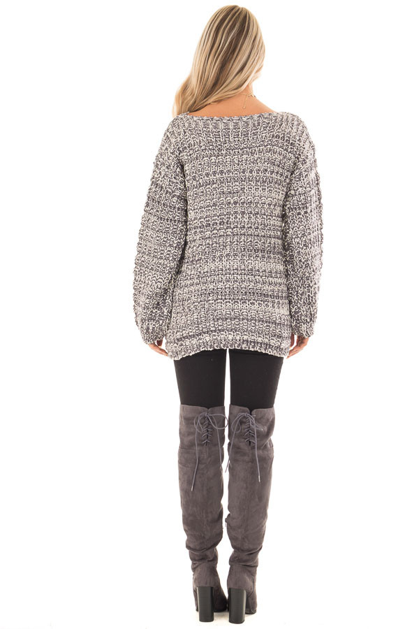 Charcoal and Ivory Thick Knit Boatneck Sweater with Pockets back full body