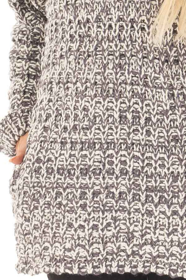 Charcoal and Ivory Thick Knit Boatneck Sweater with Pockets detail