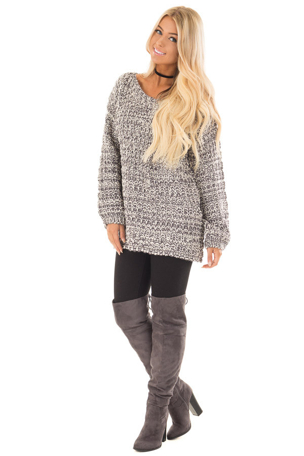 Charcoal and Ivory Thick Knit Boatneck Sweater with Pockets front full body