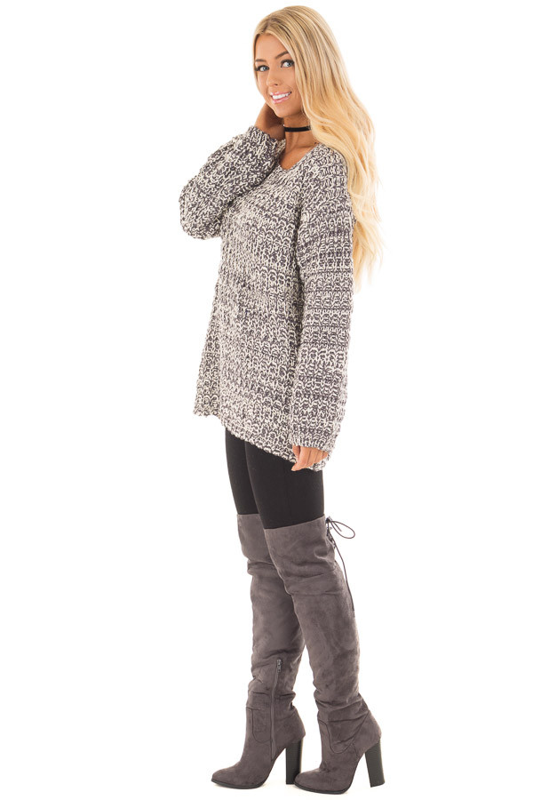 Charcoal and Ivory Thick Knit Boatneck Sweater with Pockets side full body