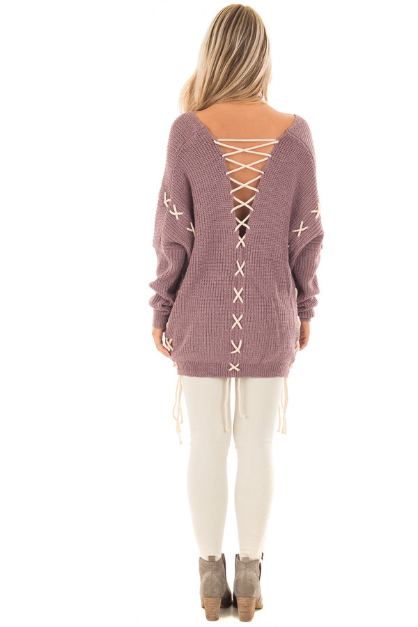 Mauve Sweater with Khaki Lace Up Details back full body