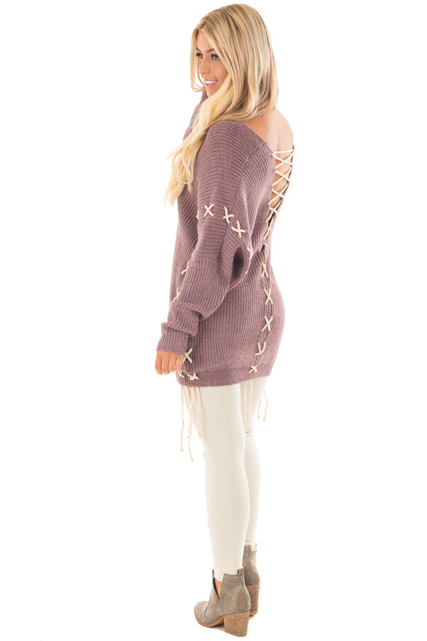 Mauve Sweater with Khaki Lace Up Details back side full body