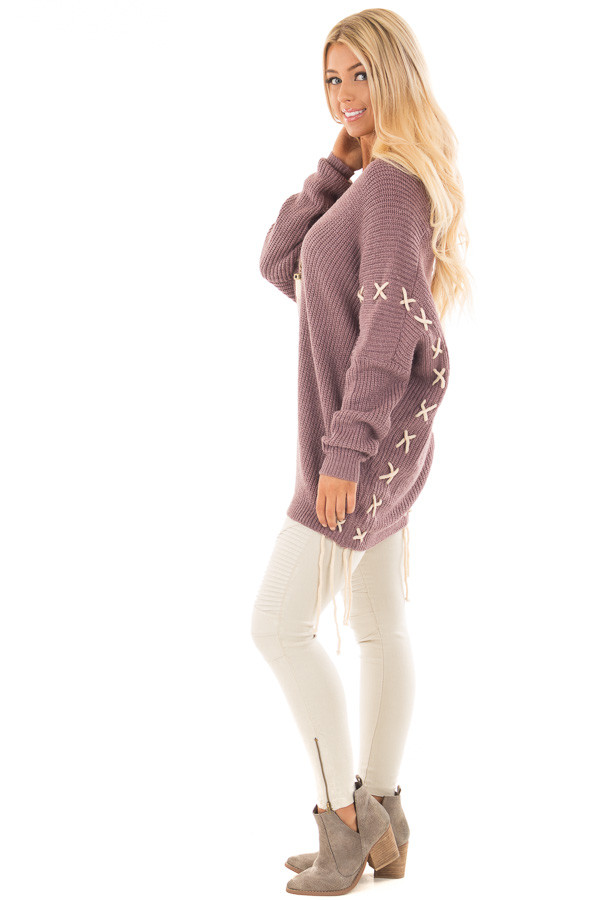 Mauve Sweater with Khaki Lace Up Details side full body
