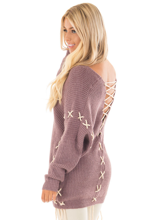 Mauve Sweater with Khaki Lace Up Details back side close up