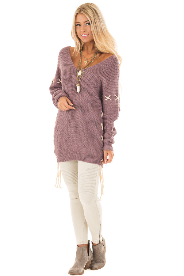 Mauve Sweater with Khaki Lace Up Details front full body