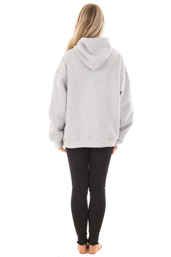 Heather Grey Hoodie with Cut Out V Neckline back full body