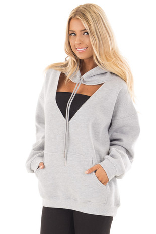 Heather Grey Hoodie with Cut Out V Neckline front close up