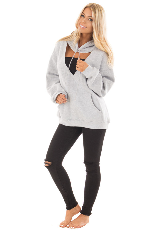Heather Grey Hoodie with Cut Out V Neckline front full body