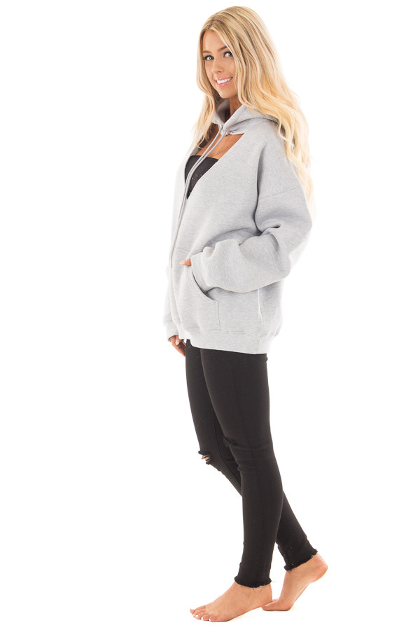 Heather Grey Hoodie with Cut Out V Neckline side full body