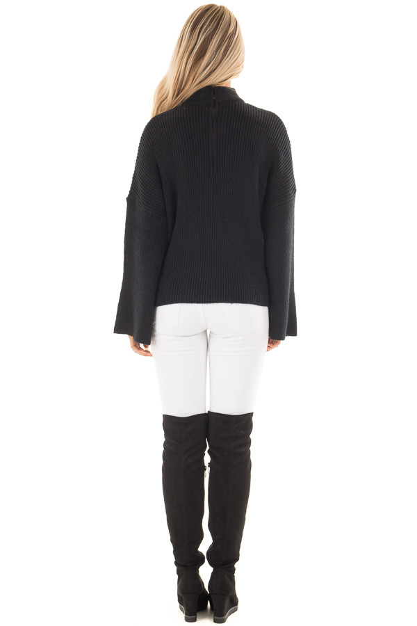 Black Long Sleeve Sweater with Cut Out V Neck back full body