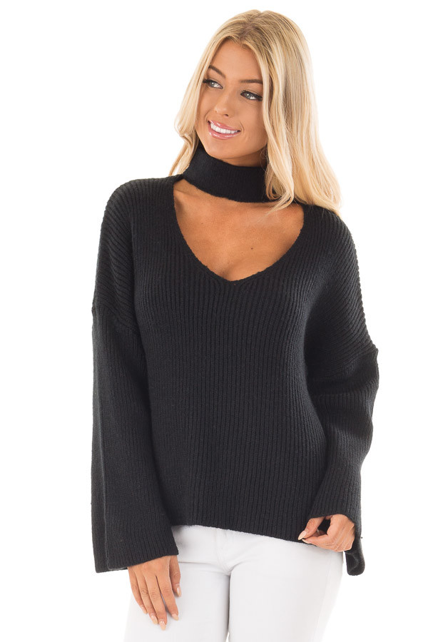 Black Long Sleeve Sweater with Cut Out V Neck front close up