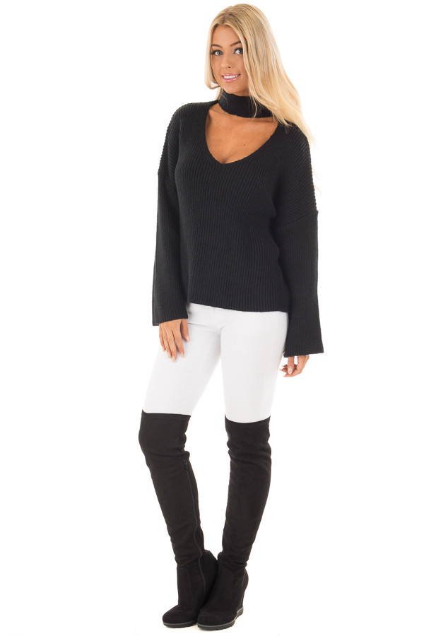 Black Long Sleeve Sweater with Cut Out V Neck front full body