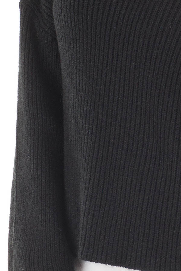 Black Long Sleeve Sweater with Cut Out V Neck detail