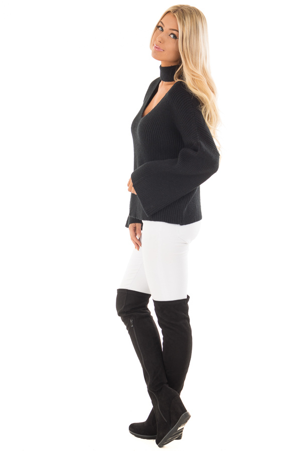 Black Long Sleeve Sweater with Cut Out V Neck side full body