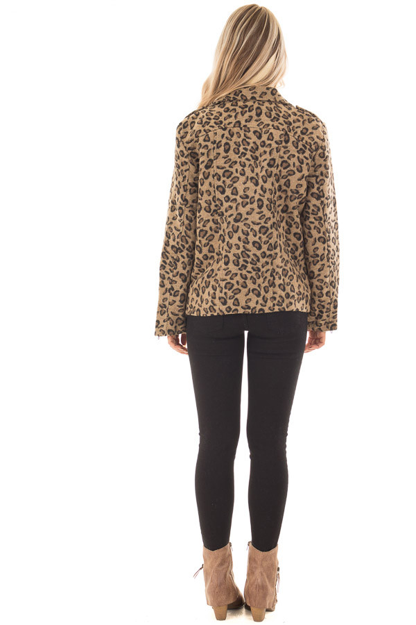 Leopard Print Jacket with Asymmetrical Zipper back full body