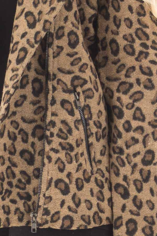 Leopard Print Jacket with Asymmetrical Zipper detail
