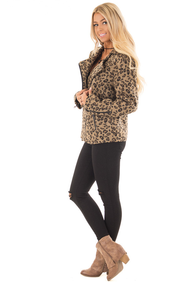 Leopard Print Jacket with Asymmetrical Zipper side full body